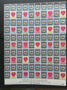 1954 Chicago Heart Association Seal Label, Cinderella Stamp Full Sheet of 100