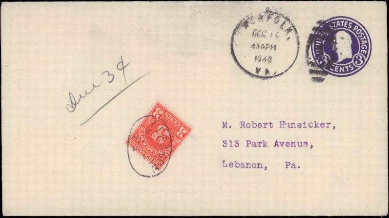 United States, Virginia, Postage Due