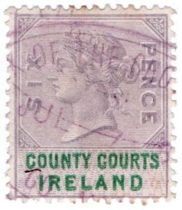(I.B) QV Revenue : County Courts Ireland 6d (1878)