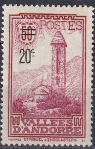Andorra (Fr)  #64 F-VF Unused  CV $18.50  (Z7521)