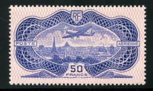 FRANCE  SCOTT#C15,   MAURY#PA15 50 franc  BANKNOTE  AIRMAIL MINT LH OG