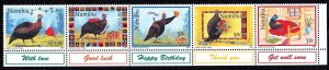 Namibia 1997 Greeting Stamps - Guineafowl Complete Mint MNH Set Strip SC 841-845