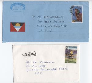 198s and 90s Antigua & Barbuda postal history 2 items inc world cup [L.52]
