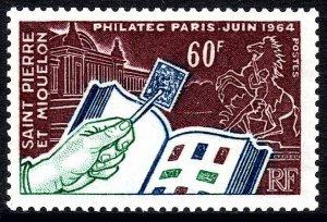 St Pierre & Miquelon 369,MNH.Philatelic & Techniques Exhibition.Stamp Album,1964