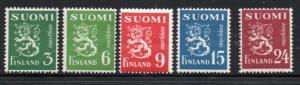 Finland Sc 270-74 1948 Lion stamp set mint NH