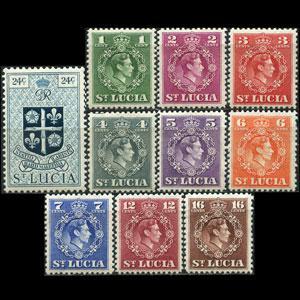 ST.LUCIA 1949 - Scott# 135-44 King etc. 1-24c NH