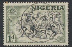 Nigeria  SG 70a  SC# 81 Used  QEII 1953 Die 1a  Bornu Horsemen please see scan