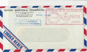El Salvador 1970 Banco Agricola Commercial Airmail Stamps Cover ref R 17614