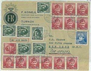 11947 - Czechoslovakia  - POSTAL HISTORY -  Airmail COVER to NY  1946 - NICE!!