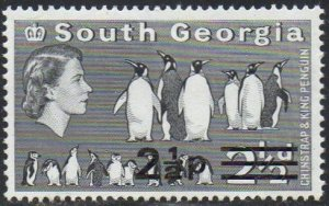 South Georgia 1977 2½p on 2½d Chinstrap and King penguins MH