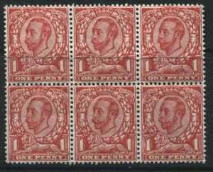 1912 KGV Downey Head 1d scarlet block of 6 mint, 4 are unmounted mint NH (40)