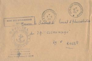 France Military Free Mail 1971 29 N. Brest-sous-Marins-Marine to Porte-Avions...