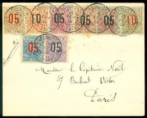 FRENCH GUINEA : 1914 cover to France with 8 values of Overprint set.