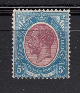 J28427, 1913-24 south africa mh #14 5sh king signes 2 scans $130.00 scv