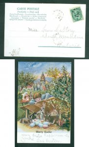 Canada. 1907 Easter Card. Children, Rabbits, Eggs. Town  Merry Easter. Sc# 89.