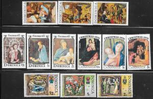 Dominica #374-543 Various Christmas Issues 1973-1977 (MNH) CV $3.00