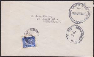 NEW ZEALAND 1945 local Dunedin cover - unpaid with 2d postage due...........1880