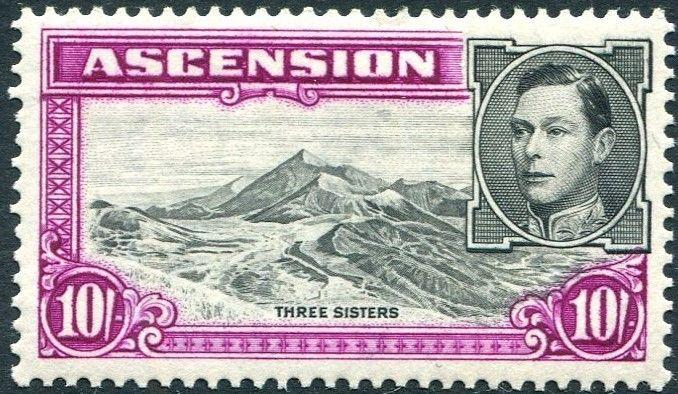 ASCENSION-1938-53 10/-  Black & Bright Purple Perf 13½ Sg 47 MOUNTED MINT V23981