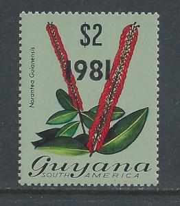 Guyana #370 NH 1981 Ovptd. on $2 Flora Defin.