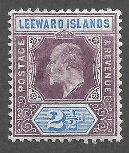 Doyle's_Stamps: 1905 MH Leeward Islands King Edward VII 2 1/2d Stamp, Scott #32*