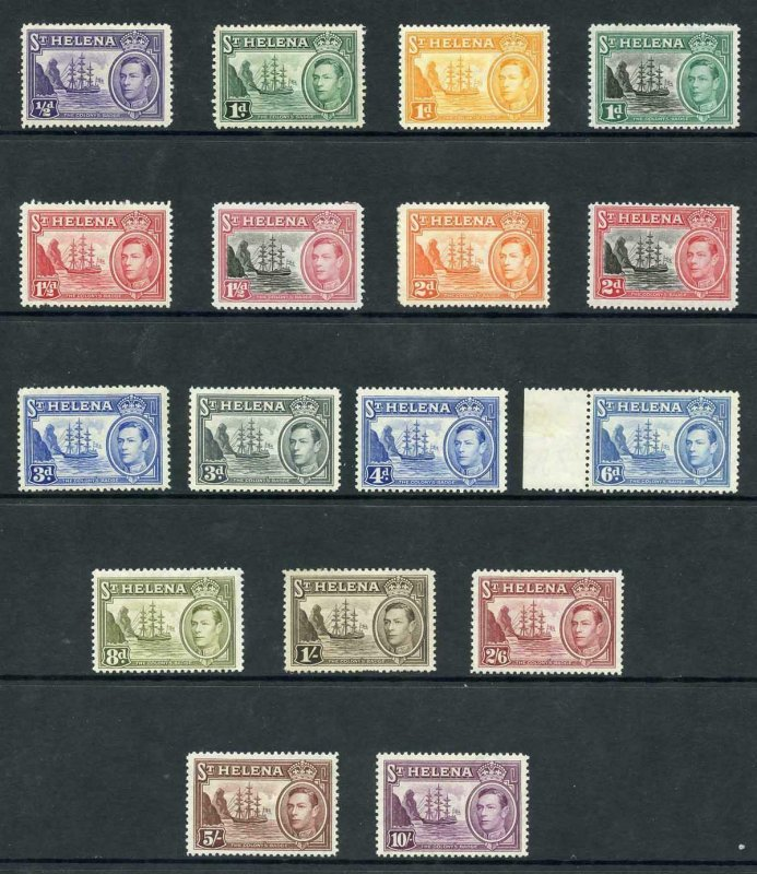 St Helena SG131/40 and 149/51 KGVI Set of 17 M/Mint