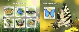 Z08 IMPERF GB191008ab GUINEA BISSAU 2019 Butterflies MNH ** Postfrisch
