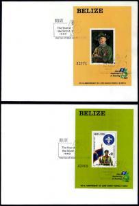 BELIZE (1982) Sc#644-645 75th Anniv, World Scouting; FDCs