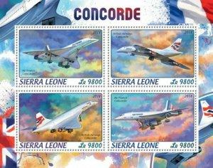 Sierra Leone - 2018 Concorde Plane - 4 Stamp Sheet - SRL18413a
