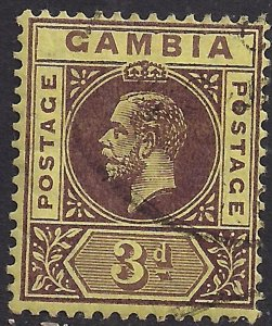 Gambia 1912 - 22 KGV 3d Purple Yellow used SG 91c ( D984 )