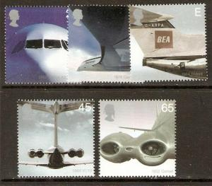 GB SG2284/8 2002 AIRLINERS MNH