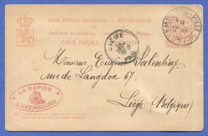 LUXEMBOURG 1892 Rare Bicycle Advertising on postal card to Belgium