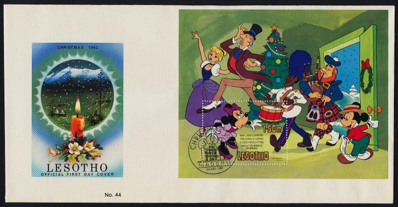 Lesotho 389 on FDC - Disney, Christmas, Twelve Days of Christmas, Music