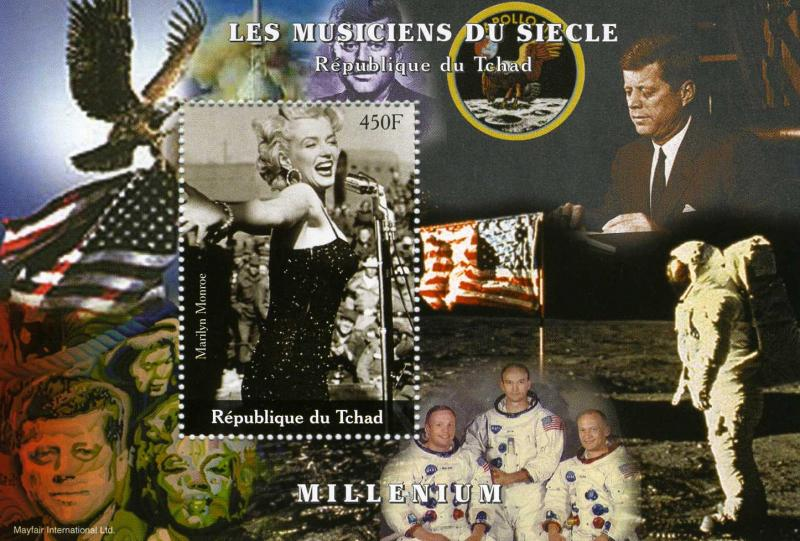 Chad 2000 SPACE Apollo 11 Marilyn Monroe s/s Perforated mnh.vf