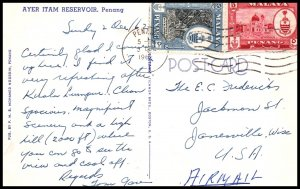 Malaysia Penang to Janesville,WI 1962 Postcard Cover