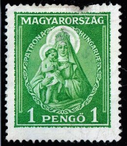 HUNGARY STAMP 1932 Madonna and Child 1P GREEN UNUSED NG TEAR