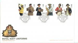 Great Britain 2009 FDC Royal Navy Uniforms Sc# 2686-91 setenant strips