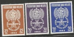 MALAYA,102-104,MNH, UNITED AGAINST MALARIA