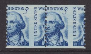 US Sc 1304 MNH. 1966 5c blue Washington, Misperf Coil Pair, VF error