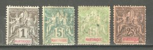 Martinique 1892-1899, Sc # 33 Mint Hinged*, Sc # 36-37, Sc # 43, VF USED