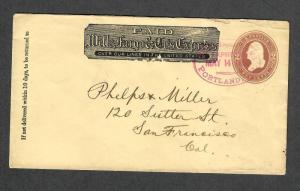 Wells Fargo+Co Portland Oregon Express Oval Cancel 1886 Cover