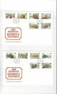 Isle of Man 347-58 Railways & Tramways Definitives 1988  Official FDC