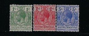 BRITISH HONDURAS SCOTT #85-87  1915  MOIRE OVERPRINTS -MINT LIGHT HINGED