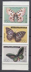 J28849, 1994 syria set strip/3 mnh #1318 butterflies