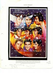 PALAU Sc#310 1992 Elvis Presley Miniature Sheet of 9 Complete Mint NH