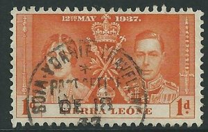 SIERRA LEONE 1937 1d Coronation - BOIA - YONNIE TRAVELLING POST OFFICE.....45829