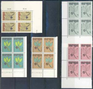 EUROPA 1965  CORNER BLOCKS OF FOUR MINT NH AS SHOWN