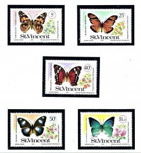 St Vincent 523-27 MNH 1978 Butterflies        (KA)