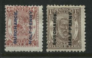 Tonga 1894 4d and 1/ overprinted 'Surcharce' variety on both stamps mint o.g.