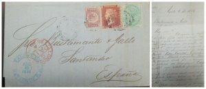 O) 1876 PUERTO RICO BRITISH POSTAL - MAYAGUEZ P.P. QUEEN VICTORIA, COMPLETE LET