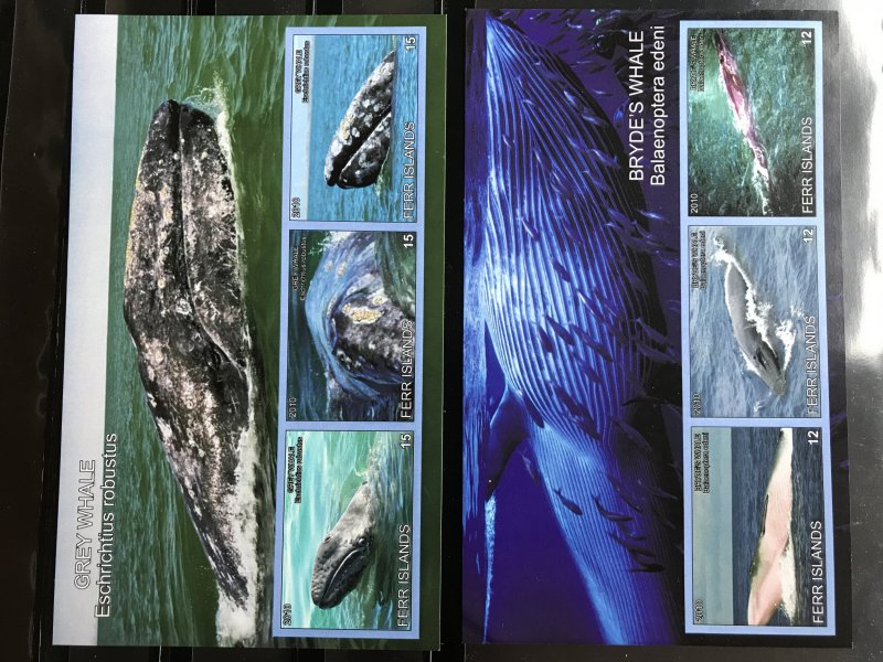 Feer Islands Imperf Souvenir Sheet set of 7  Mint NH,  whale, sea animal RARE